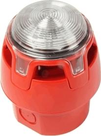 Siréna viactónová červená konvenčná so strobo, 100dB - CWSS-RR-W5