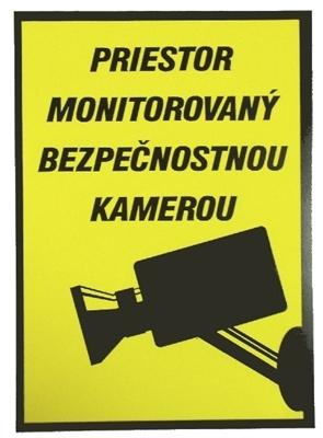 Nálepka - priestor monitorovaný bezp. kamerou - inverzná