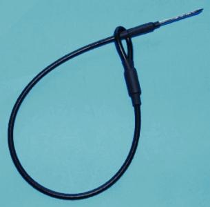 Kovové lanko s očkom a špendlíkom, poplastované, farba čierna, 175mm